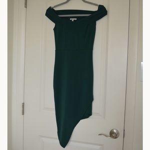 Off the should asymmetrical dress
